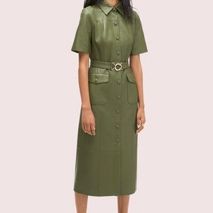 Kate Spade Green Leather Belted Shirtdress NWT 16